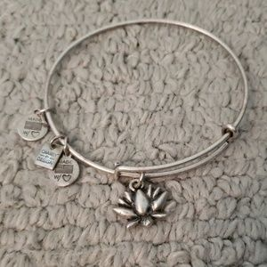 Alex and ani lotus flower silver bangle